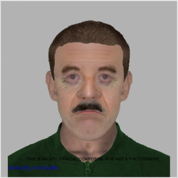 An e-fit of a man who threatened a woman with serious sexual assault in Ferndown