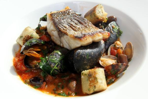 Bournemouth Echo: Alex Aitken's Sea Bass with Shellfish