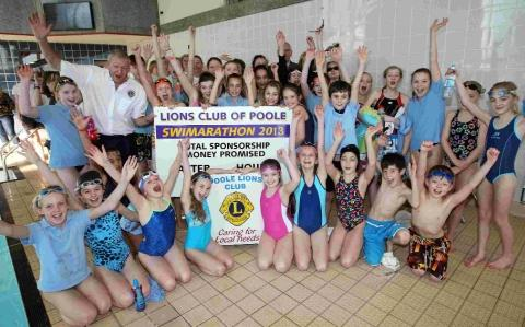 Some of the young swimmers taking part in the fundraising event