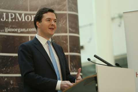 George Osborne giving his speech at JP Morgan