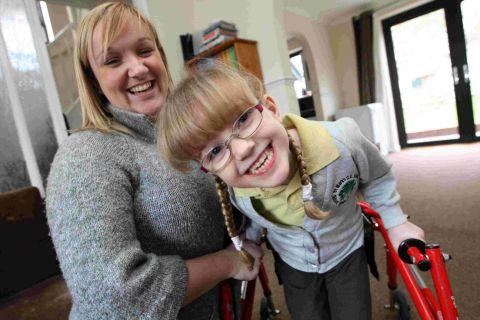 Gemma Thompson with her daughter Sophie, six, who has cerebral palsy