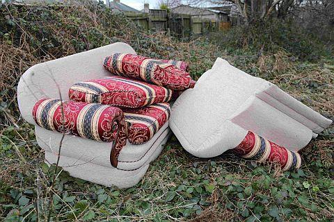 SITTING TARGET: The dumped settee