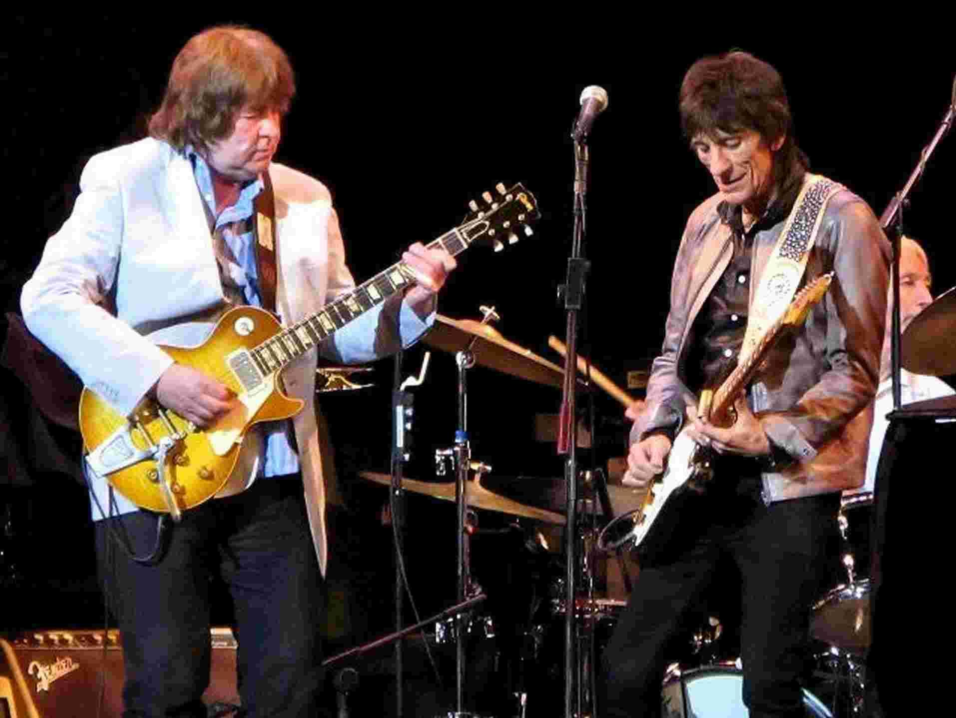 STONE ME: Mick Taylor, left, on stage at the Ambassadors with Ronnie and Charlie, will be gigging with Ben Waters at Beaminster Town Hall tonight