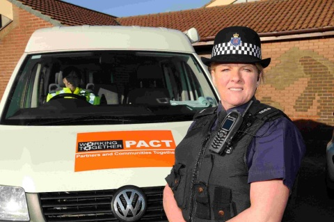 WORKING TOGETHER: PC Christine Gould at St Francis Church, Littlemoor