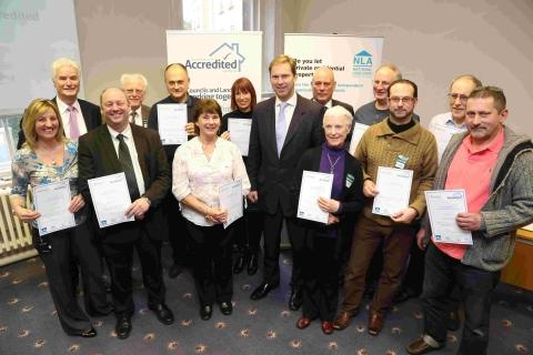 Bournemouth Echo: Tobias Ellwood MP and landlords at the launch of the register