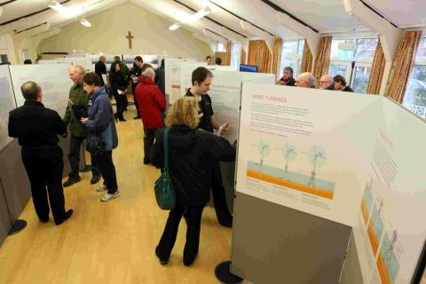 The last in a series of consultation events for the Navitus Bay wind Farm at St Edward's Church Hall in Swanage