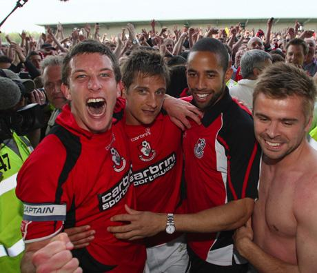 PROMOTION PARTY: Jason Peace (left) and team-mates in 2010