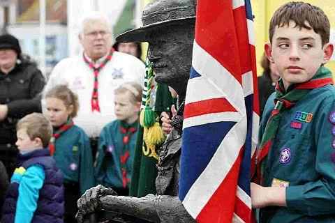 FLAGGING IT UP: Local scouts mark Baden-Powell's birthday and Founder's Day with a short service by his statue on Poole Quay