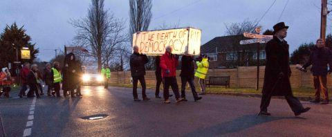 Bournemouth Echo: Residents marched from the Stocks Inn to the council offices in protest at the controversial East Dorset core strategy plan