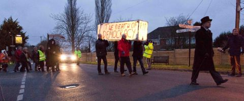 Residents marched from the Stocks Inn to the council offices in protest at the controversial East Dorset core strategy plan