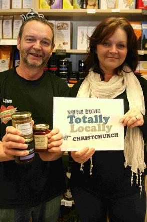 DEALS: Ian Cook, of Heartizans Deli in Christchurch, together with Cheryl Dennett, organiser of the Totally Locally Campaign