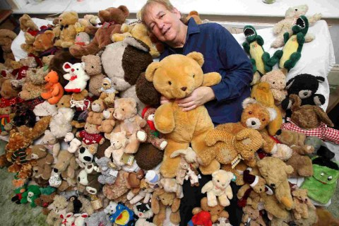 NECESSITIES: Paul Wallace with some of his 200 bears Picture:  Sally Adams