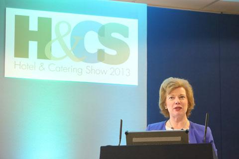 Deirdre Wells OBE speaking at the Hotel and Catering Show this morning
