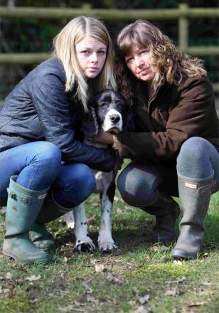 SADNESS: Lauren and Louise Beal with their family dog, Monty, whose springer spaniel, Bruno, passed away