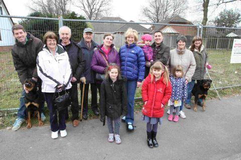 HAPPIER TIMES: Supporters stand outside the Howe Lane plot where councillors have declined the idea for a new NHS surgery