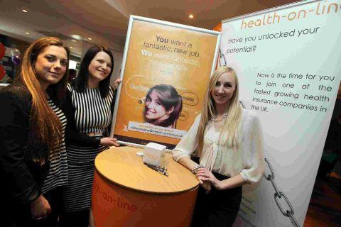 Rosie Vallance, Sophie Ayre and Lorna Frohlich at the Health-on-Line stand