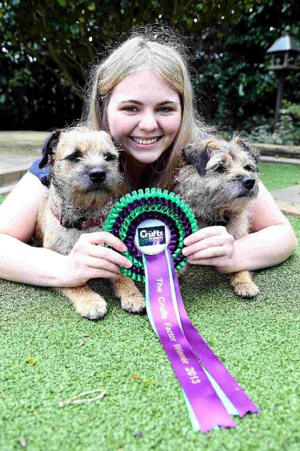 PRIZE DOUBLE: Jodie Forbes, with her Crufts award-winning dogs Bramble and Hazel