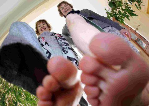STEP: Gill Taylor, left and Lis Horwich are doing a firewalk over hot coals in aid of BCHA