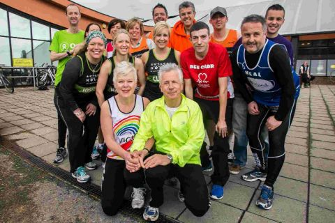 READY FOR THE OFF: Bournemouth residents taking part in the London Marathon