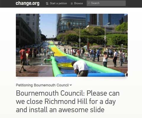 A giant slide on Richmond Hill for the day? hundreds sign wacky petition
