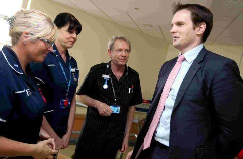 Health Minister Dr Dan Poulter visits the Medical Investigations Unit at Poole Hospital