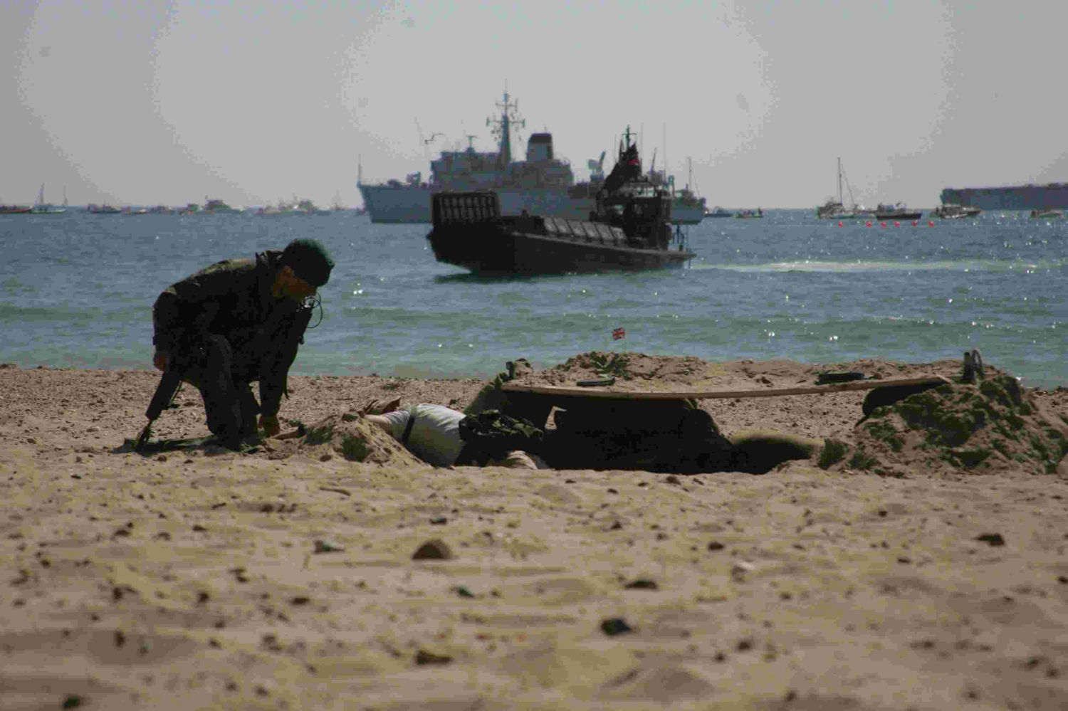 EXPERTS IN ACTION: Royal Marines launch a beach assault in Bournemouth during an exercise