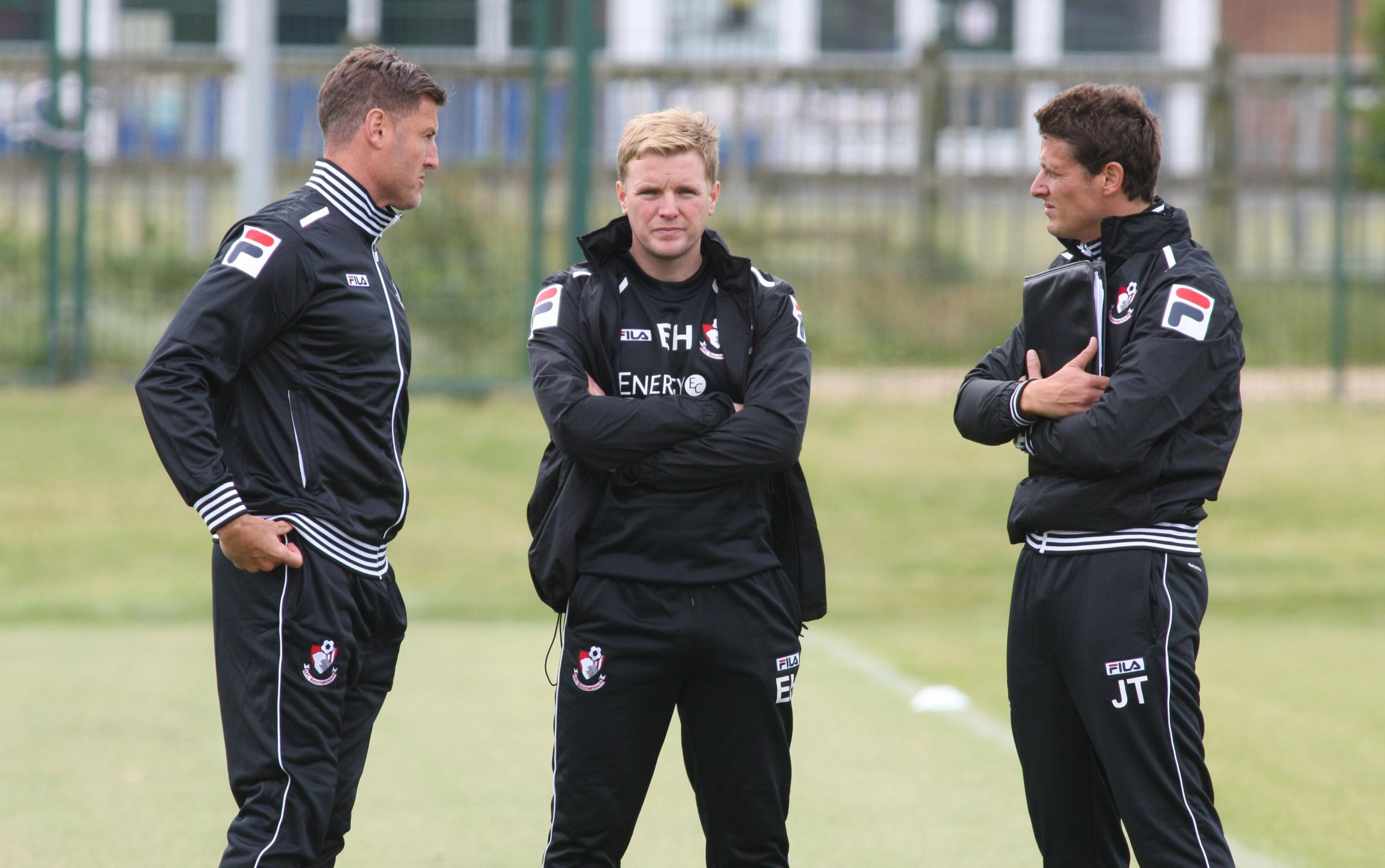 BACK IN TRAINING: AFC Bournemouth boss Eddie Howe (centre)