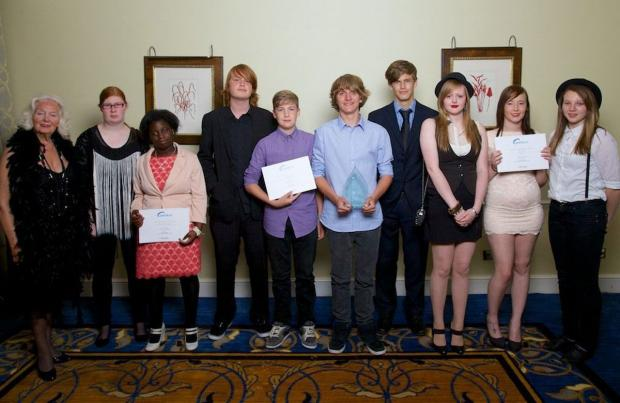 Bournemouth Echo: Most Successful Young Team Sponsored by Bournemouth Trophy & Engraving Centre: Hilda Brownlow with finalists Linwood School Post 16 Duke of Edinburgh Group, Young Carers Group and The 896 Electric Team. Picture by Staurt Harrison
