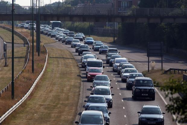 Bournemouth Echo: Traffic queuing to get out of Bournemouth