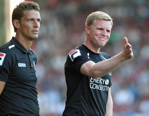 BOSS: Eddie Howe, right, with Jason Tindall