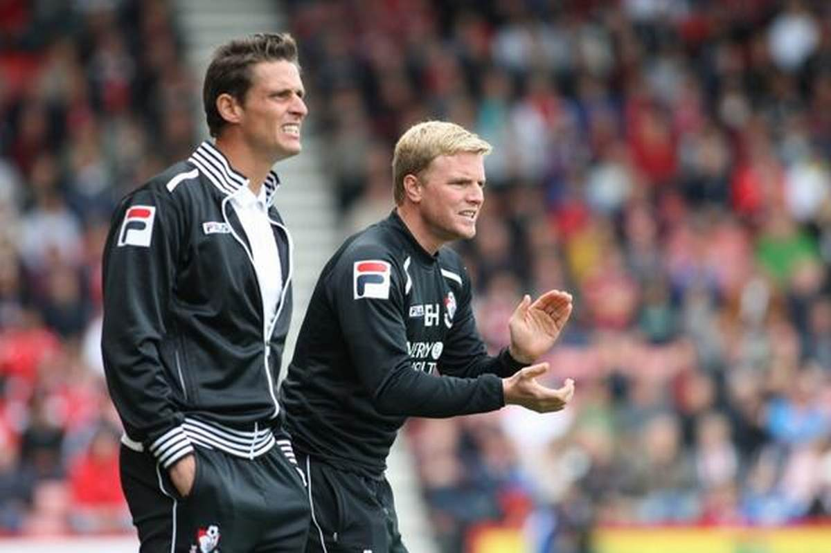 TERRIERS CLASH: Jason Tindall with boss Eddie Howe