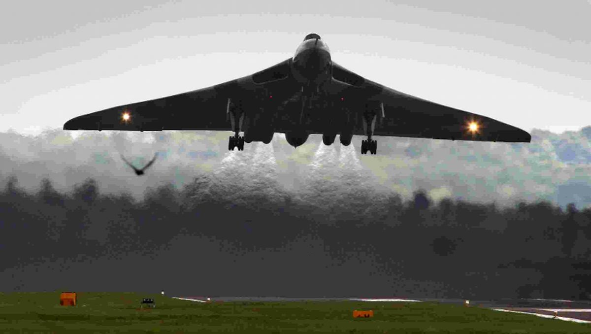 ATTRACTION: The Vulcan takes off from Bournemouth Airport