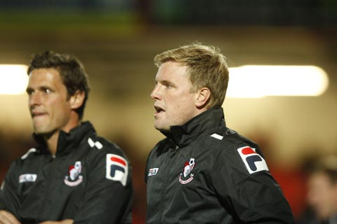 IN CHARGE: Eddie Howe, right