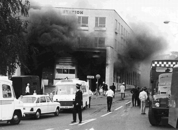 Bournemouth Echo: Smoke billows from Bournemouth bus station