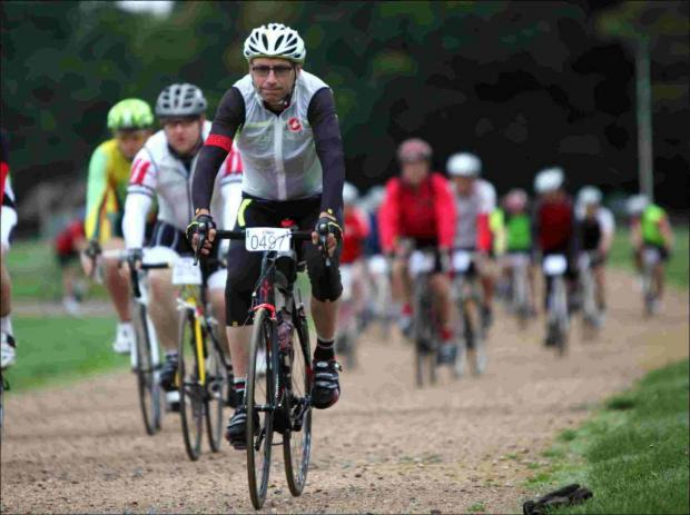 Riders leave New Park during the Wiggle 100 New Forest Sportive cycle