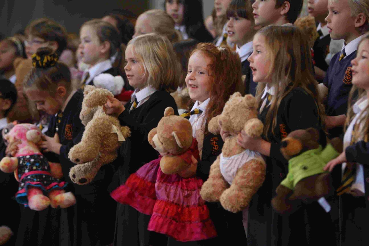Pupils from St Luke's Primary School perform at a one-day music festival held to mark the centenary of St Luke's Church in Winton