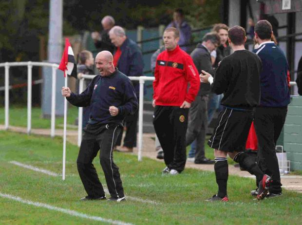 POTTERS WIN: Adie Arnold celebrates win over Winchester