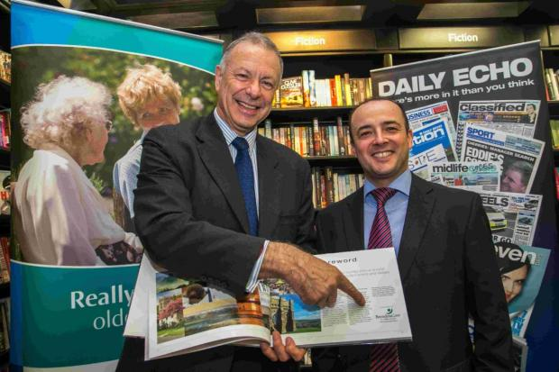 FANTASTIC: Launch of the Daily Echo's latest Dorset book at Castlepoint Waterstones. BrendonCare Chief Executive Ron Staker, with Bournemouth Echo Group Editor Toby Granville