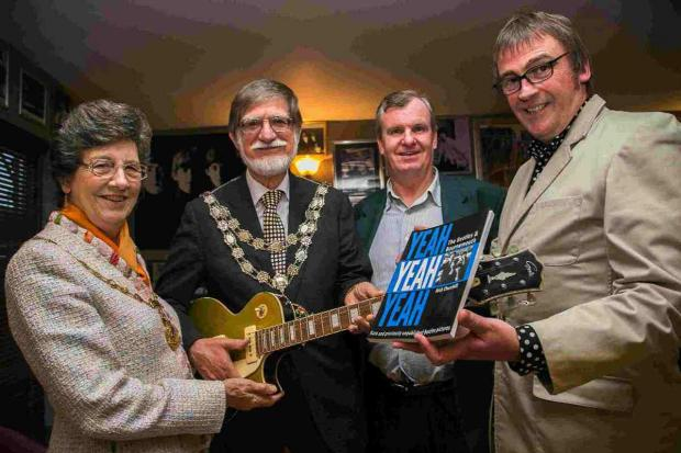 BEATLEMANIA: Mayor of Bournemouth Rod Cooper, mayoress Elaine Cooper, Beacon Hotel owner Dave Robinson and author Nick Churchill