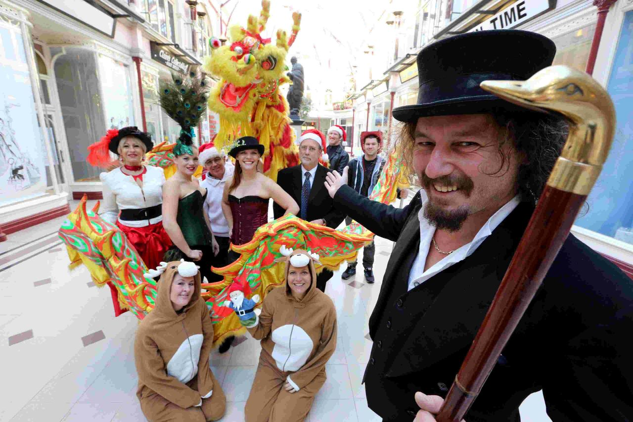 DRAGON: Harry Seccombe of Chaplin's and The Cellar Bar in Boscombe launches the Countdown to Christmas events