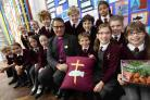 SPECIAL WELCOME: The Bishop of Southampton The Rt Revd Jonathan Frost with gifts from the pupils at Priory School