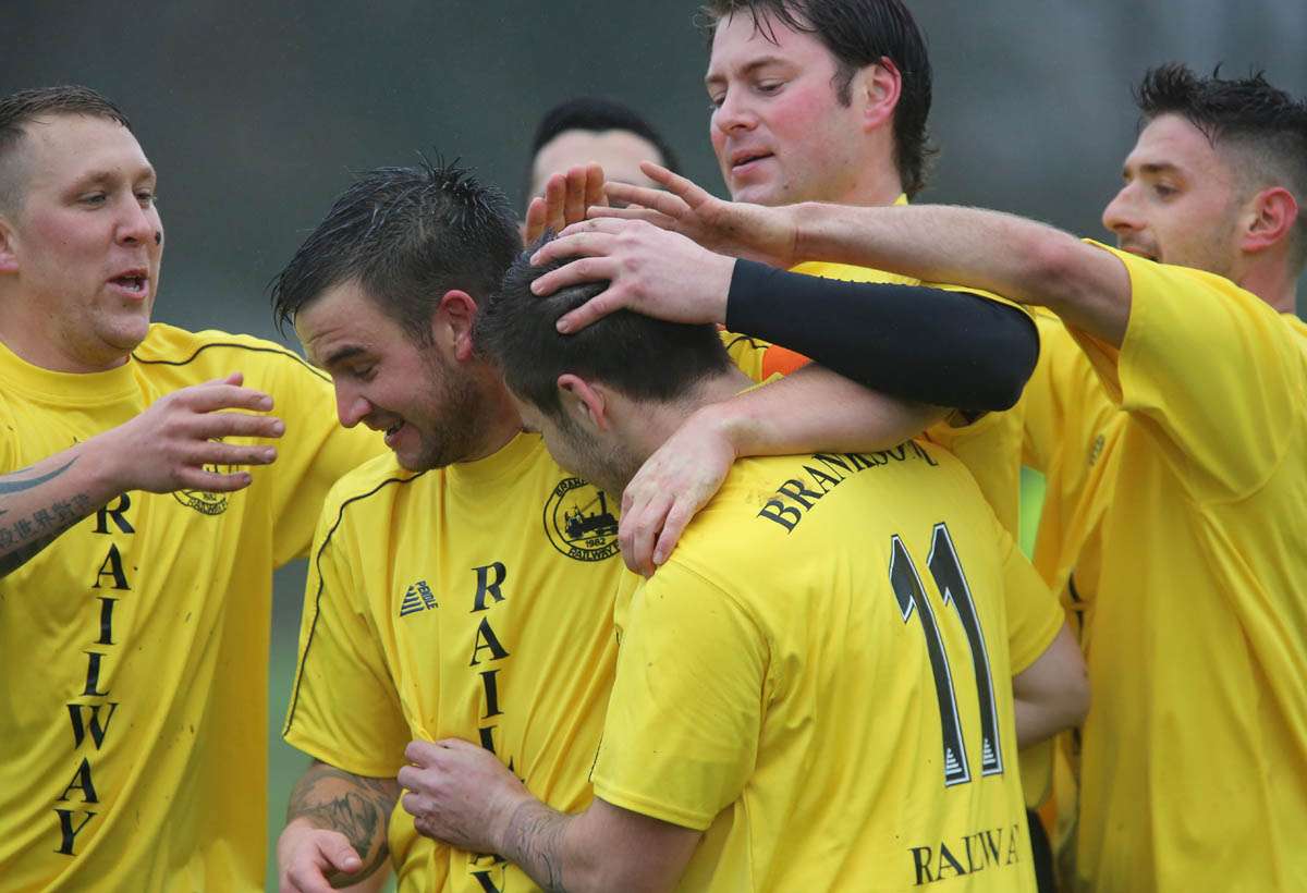 CHOO CHOO: Branksome Railway celebrate in the FA Sunday Cup
