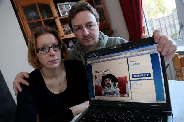 Bournemouth Echo: James and Morwenna Gower who have discovered several websites that are using the details and images from their appeal to raise money for life changing surgery for their son Elliot.