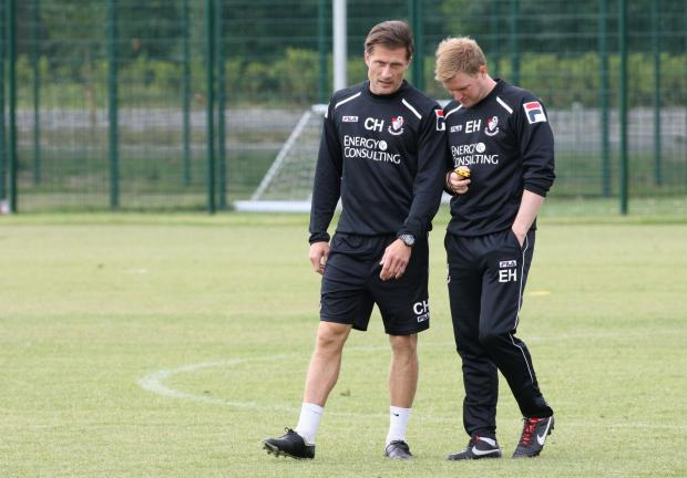 Chris Hargreaves with Cherries boss Eddie Howe