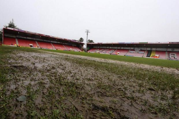 WASHED OUT: The scene at Dean Court today