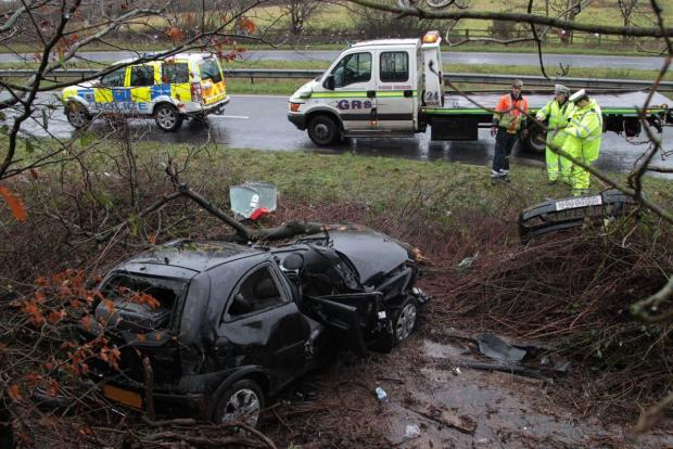 Man 'lucky to be alive' after car 'aquaplaned' and hit tree on Upton Bypass