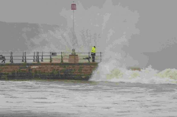 CRASH: A man and his dog standing next to waves in Swanage. Photo from Andy Lyons of Swanage RNLI