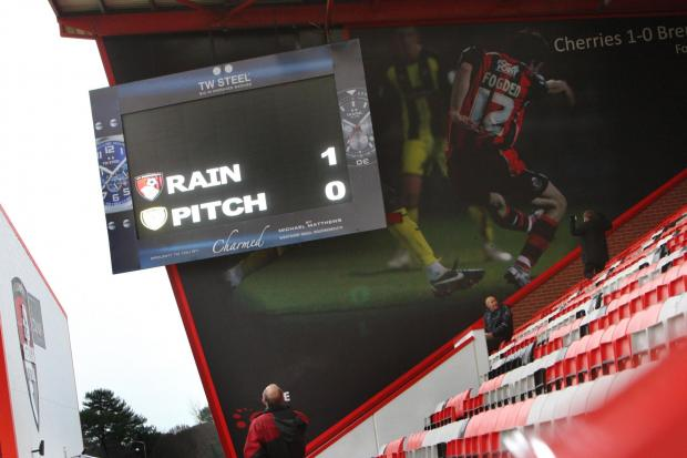 CALLED OFF: The scene at Dean Court on Saturday