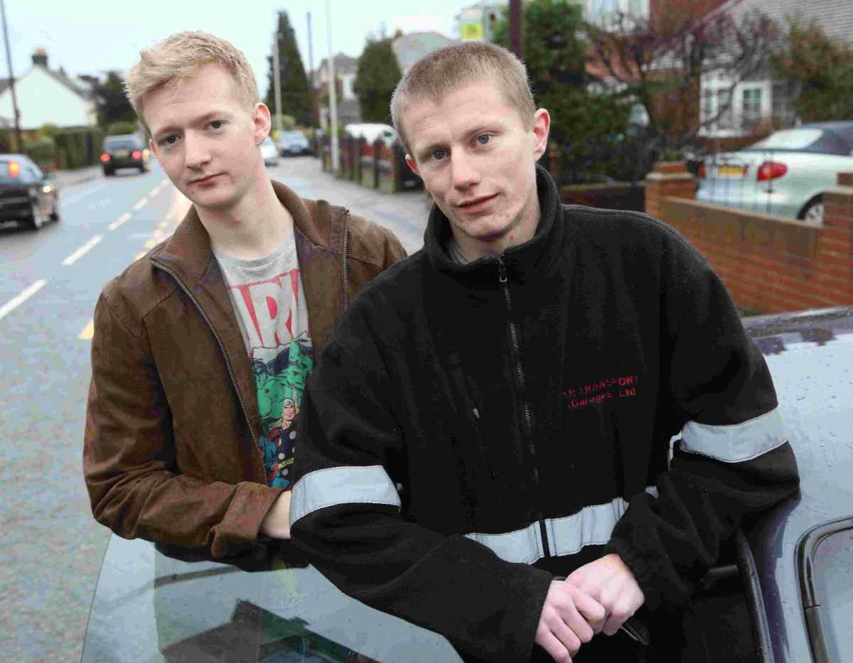 Heroes: David Gower, right, and Luke Jackson who alerted a lorry driver who was asleep in his cab after they spotted a fire on his lorry