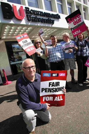 STARTLING HYPOCRISY': John Brissenden, front, with colleagues on a pensions protest